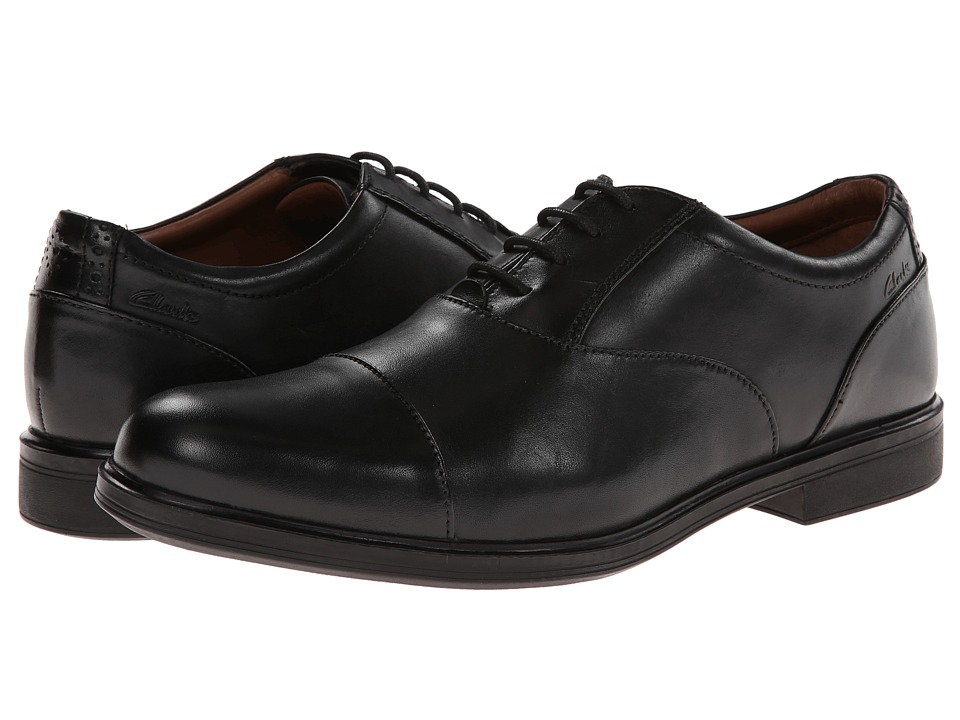 Clarks - Gabson Cap (Black Leather) Men's Lace Up Cap Toe Shoes
