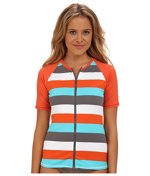 Tommy Bahama - Rugby Dot Short Sleeve Rash Guard w/ Zipper (Ginger/Capri/Cave Multi) Women