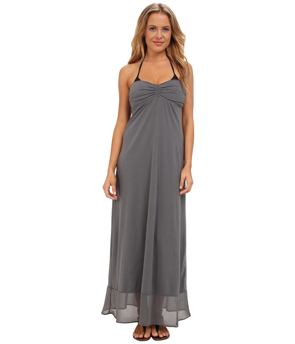Tommy Bahama - Knit Chiffon Shirred Bandeau Long Maxi Dress Cover-Up (Cave/Cave) Women's Swimwear