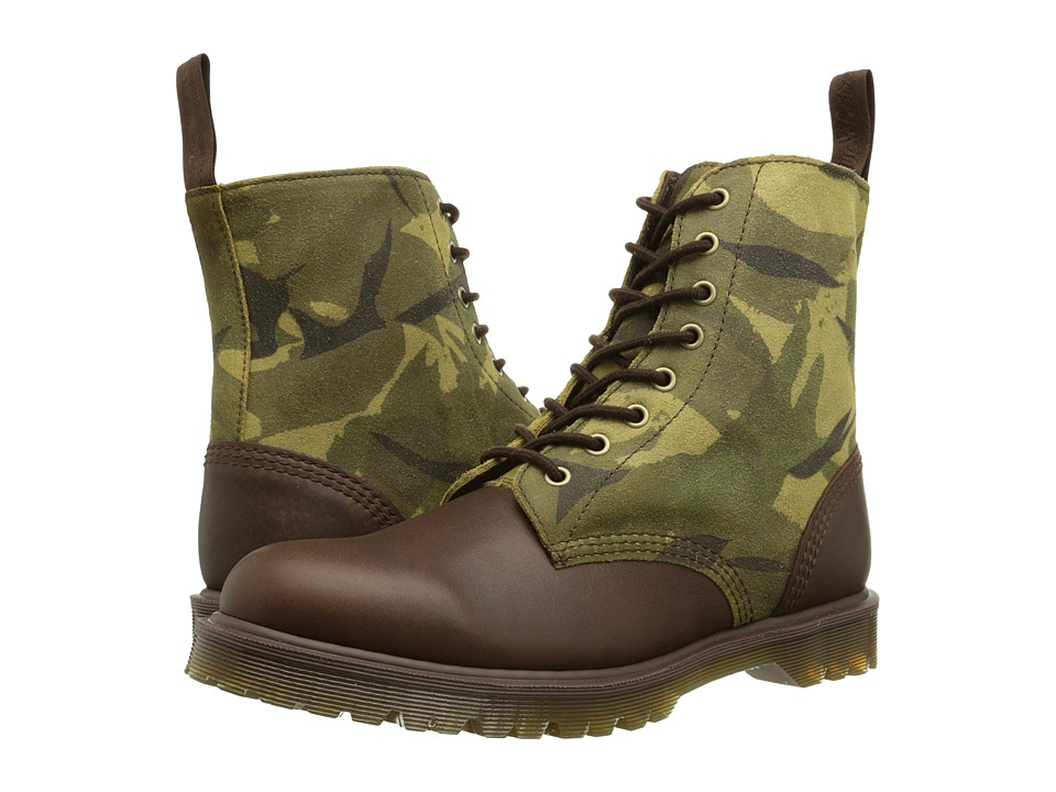 Dr. Martens - Wilder 8-Tie Boot (Dark Brown Inuck/Green British Large Camo Suede) Men