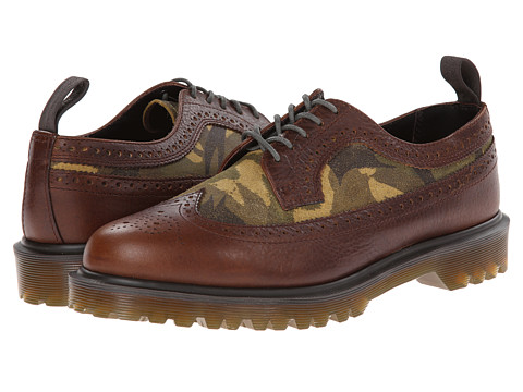 Dr. Martens - 3989 Brogue Shoe (Dark Brown Inuck/Green British Large Camo Suede) Men's Lace Up Wing Tip Shoes