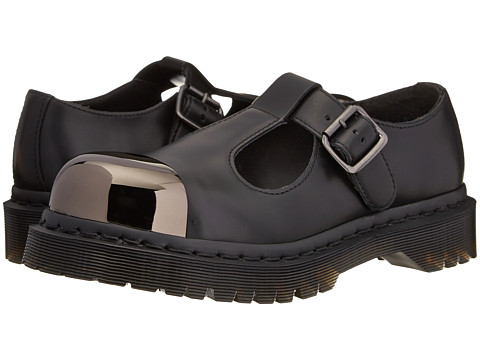Dr. Martens - Grab Fashion Steel Toe T-Bar (Black Polished Smooth) Women's Slip on Shoes