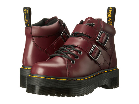 Dr. Martens - Bryony Lace Buckle Boot (Cherry Red Polished Smooth) Women