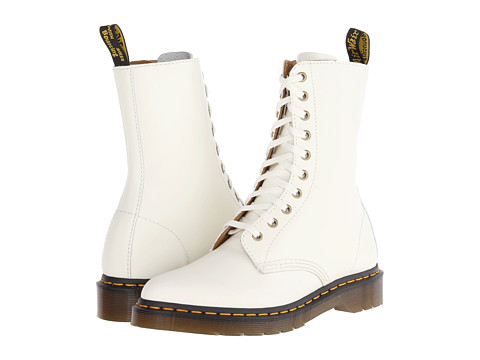 Dr. Martens - Alix 10-Eye Zip Boot (Off White Polished Smooth) Women