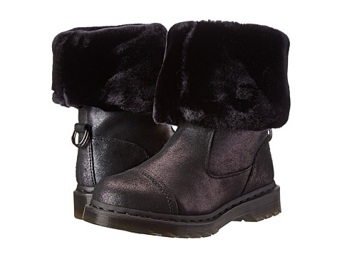 Dr. Martens - Pasha Rigger Calf Boot (Black Crackle Suede) Women