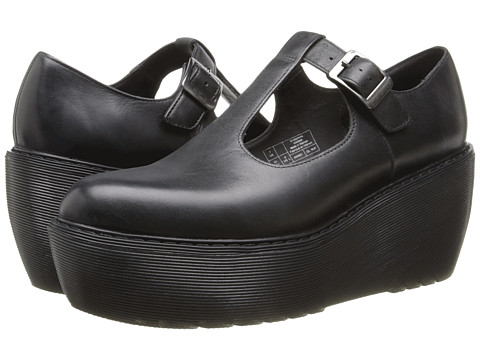 Dr. Martens - Karina T-Bar Shoe (Black Polished Wyoming) Women's Hook and Loop Shoes