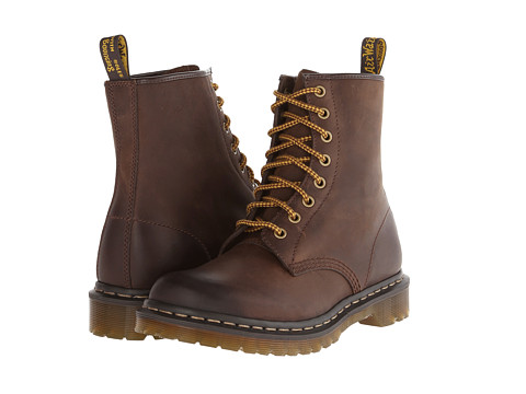 Dr. Martens - 1460 W 8-Eye Boot (Dark Brown Burnished Wyoming) Women's Lace-up Boots