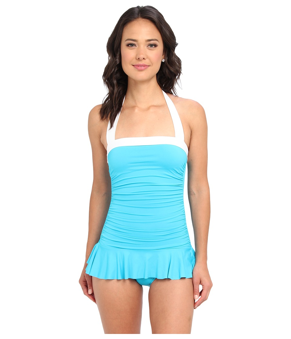 LAUREN by Ralph Lauren - Bel Aire Solids Shirred Bandeau Skirted Mio One-Piece (Turquoise) Women's Swimsuits One Piece