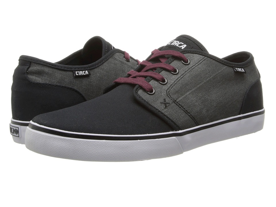 Circa - Drifter (Black/Black Denim/Ox Blood) Men's Skate Shoes