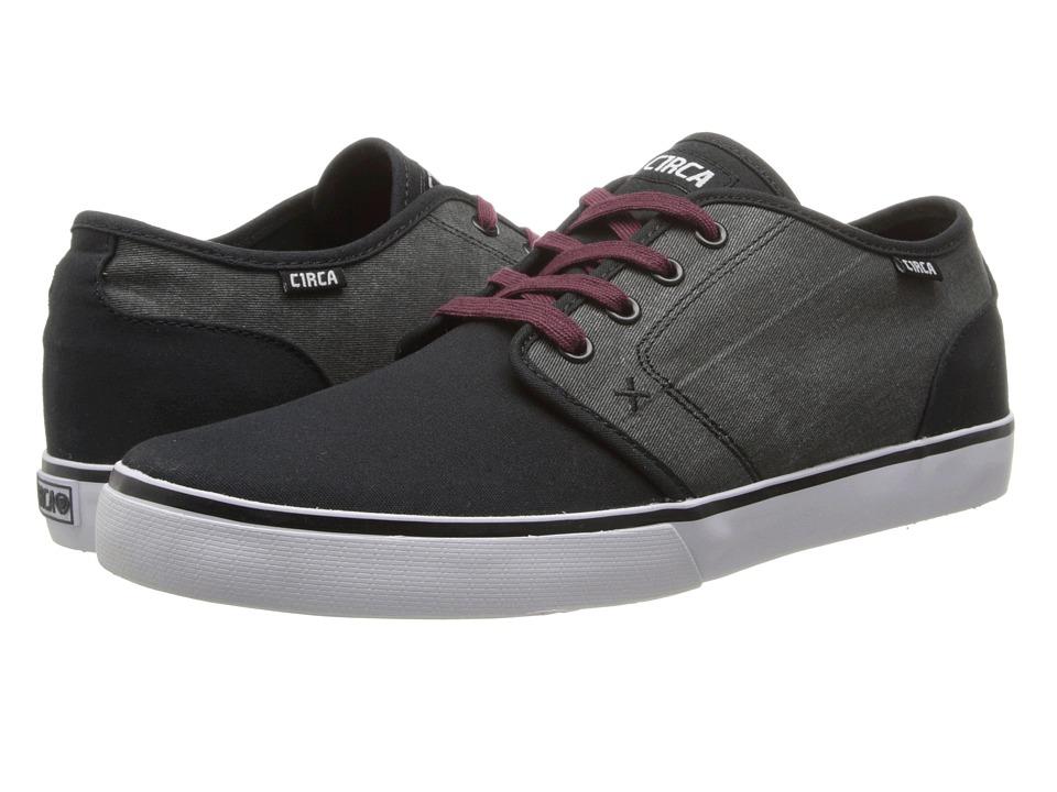 Circa - Drifter (Black/Black Denim/Ox Blood) Men's Skate Shoes