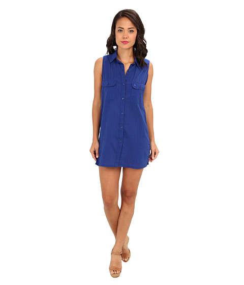 LAUREN by Ralph Lauren - Crushed Cotton Cover-Ups Sleeveless Camp Shirt (Cobalt/Cobalt/Academy) Women's Swimwear