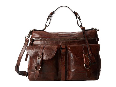 Frye - Josie Satchel (Dark Brown Antique Shine) Satchel Handbags