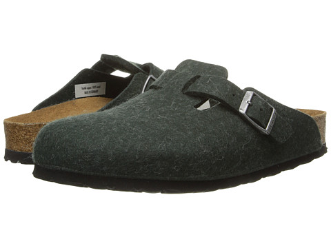 Birkenstock - Boston Soft Footbed (Olive Green Wool) Women