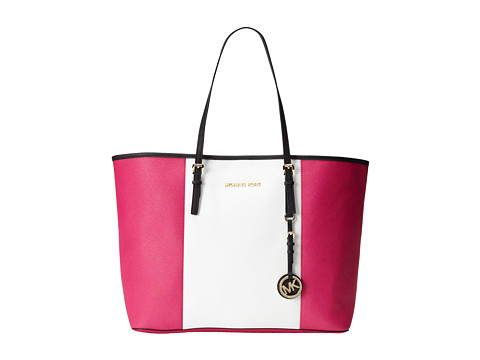 MICHAEL Michael Kors Jet Set Travel Center Stripe Medium Travel Tote (Raspberry/White/Black) Tote Handbags