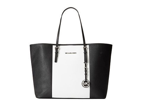 MICHAEL Michael Kors Jet Set Travel Center Stripe Medium Travel Tote (Optic White/Black) Tote Handbags