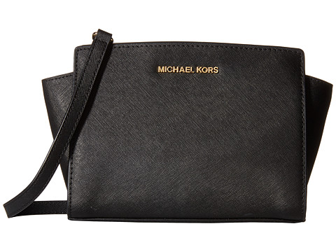 MICHAEL Michael Kors Reese Medium Messenger (Black) Handbags