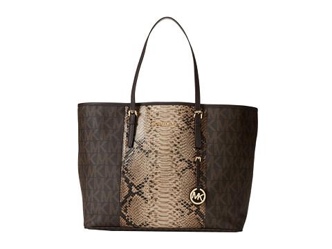 MICHAEL Michael Kors Jet Set Travel Center Stripe Medium Travel Tote (Brown/Sand/Dark Chocolate) Tote Handbags