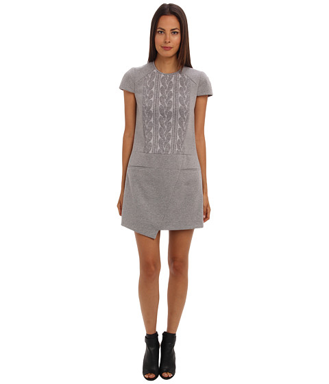 tibi - Elsa Short Sleeve Dress (Heather Grey) Women