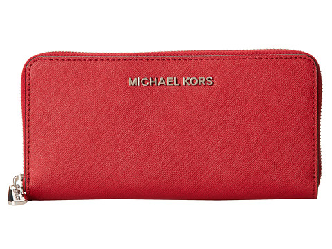 MICHAEL Michael Kors Jet Set Travel ZA Continental (Scarlet) Wallet Handbags