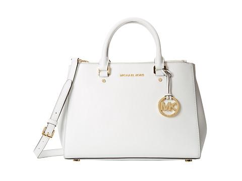 MICHAEL Michael Kors Sutton Medium Satchel (Optic White) Satchel Handbags