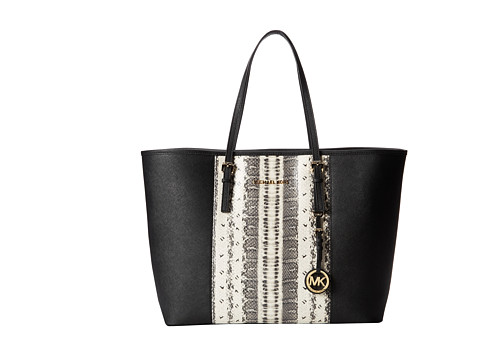 MICHAEL Michael Kors Jet Set Travel Center Stripe Medium Travel Tote (Snake/Black) Tote Handbags