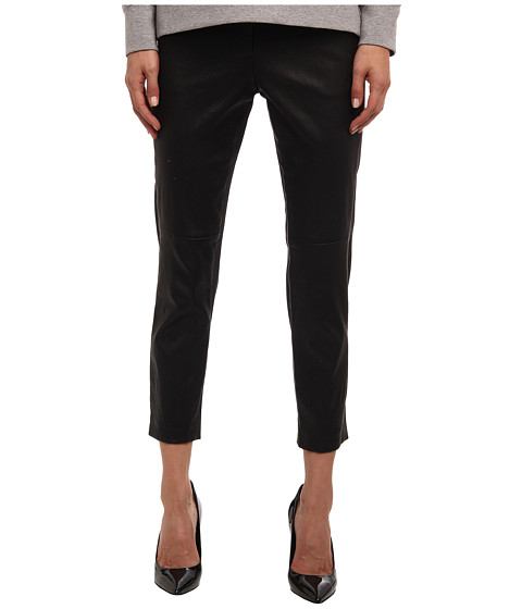 tibi - Edie Tropical Wool Leather Panel Skinny Pants (Black) Women's Casual Pants