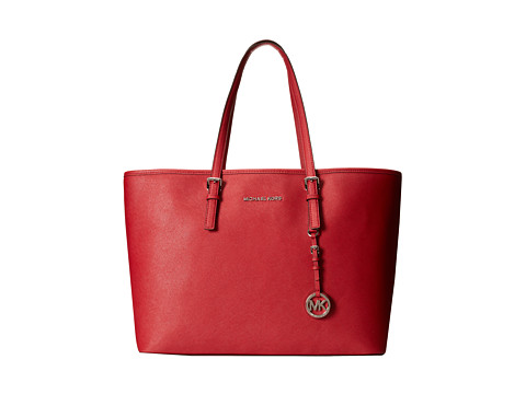 MICHAEL Michael Kors Jet Set Travel Medium Multifunction Tote (Scarlet) Tote Handbags