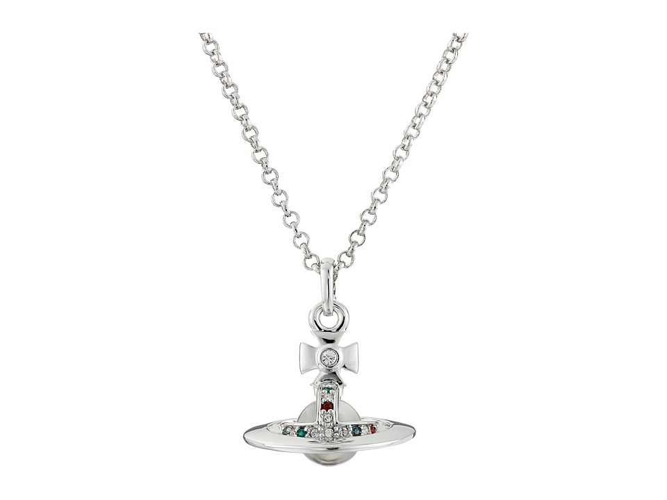 Vivienne Westwood - New Tiny Orb Pendant (Imitation Rhodium/Multi) Necklace