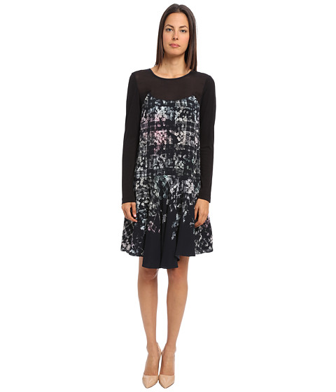 tibi - Floral Fields Long Sleeve Dress w/ Mesh And Wool Jersey Combos (Black Multi) Women