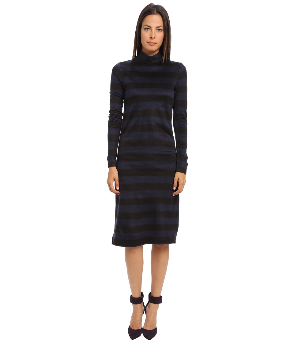 tibi - Cozy Stripe Turtleneck Long Sleeve Dress (Navy Multi) Women's Dress
