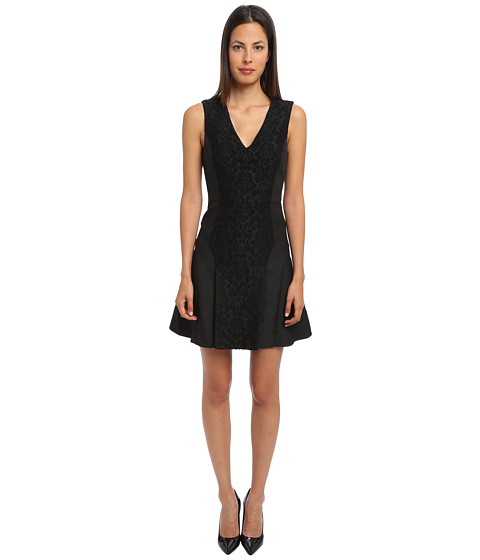 tibi - Worth Embroidery Sleeveless V-Neck Flirty Dress (Black) Women's Dress
