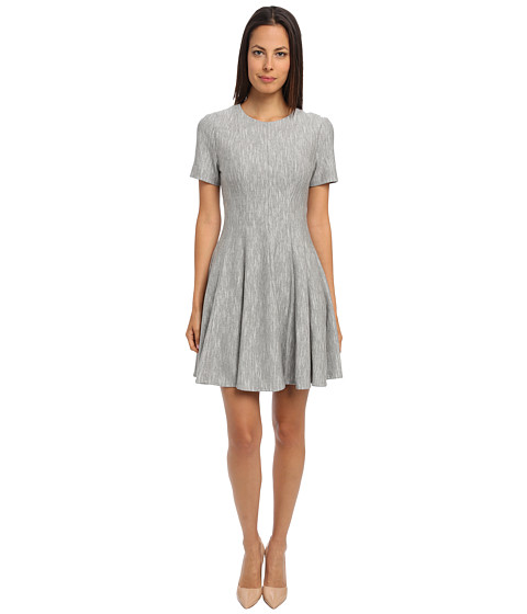 tibi - Daria Herringbone Knit Paneled Short Sleeve Dress (Black Natural Multi) Women's Dress
