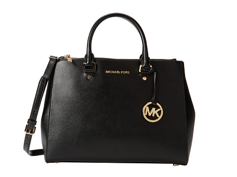 MICHAEL Michael Kors Sutton Large Satchel (Black 1) Satchel Handbags