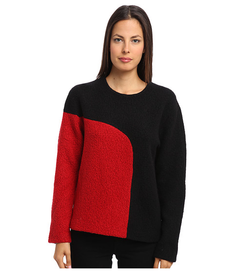 tibi - Cozy Boucle Colorblock Sculpted Top (Black/Bright Red Multi) Women's Long Sleeve Pullover