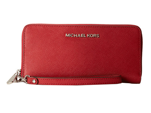 MICHAEL Michael Kors Jet Set Travel Tech Continental (Scarlet) Continental Wallet