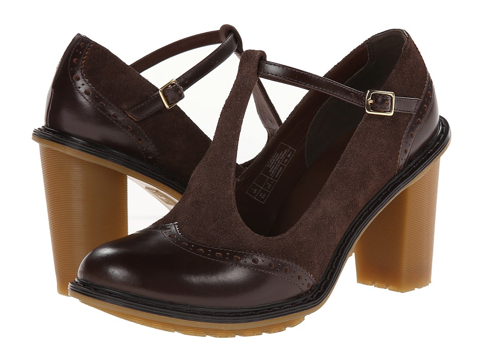 Dr. Martens - Karishma Brogue T-Bar (Dark Brown Buttero/Bitter Chocolate Super Hi Calf Suede WP) High Heels