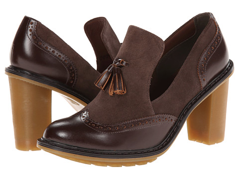 Dr. Martens - Jessyca Tassel Brogue (Dark Brown Buttero/Bitter Chocolate Super Hi Calf Suede WP) High Heels