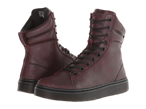 Dr. Martens - Mix Padded Collar Hi Top (Cherry Red Crackle Suede) Women