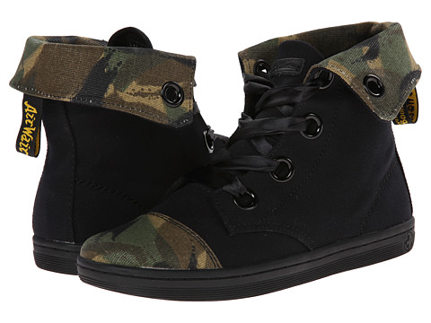 Dr. Martens - Chiswick 5-Eye Fold Down Boot (Black Canvas/Green EM Large Camo Waxy Canvas) Women's Lace-up Boots