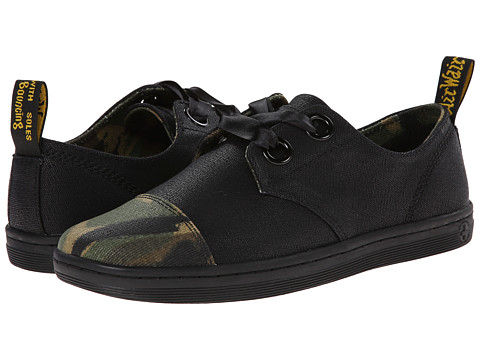 Dr. Martens - Ealing 2-Eye Cap Toe Shoe (Black Waxy Canvas/Green EM Large Camo Waxy Canvas) Women's Lace-up Boots