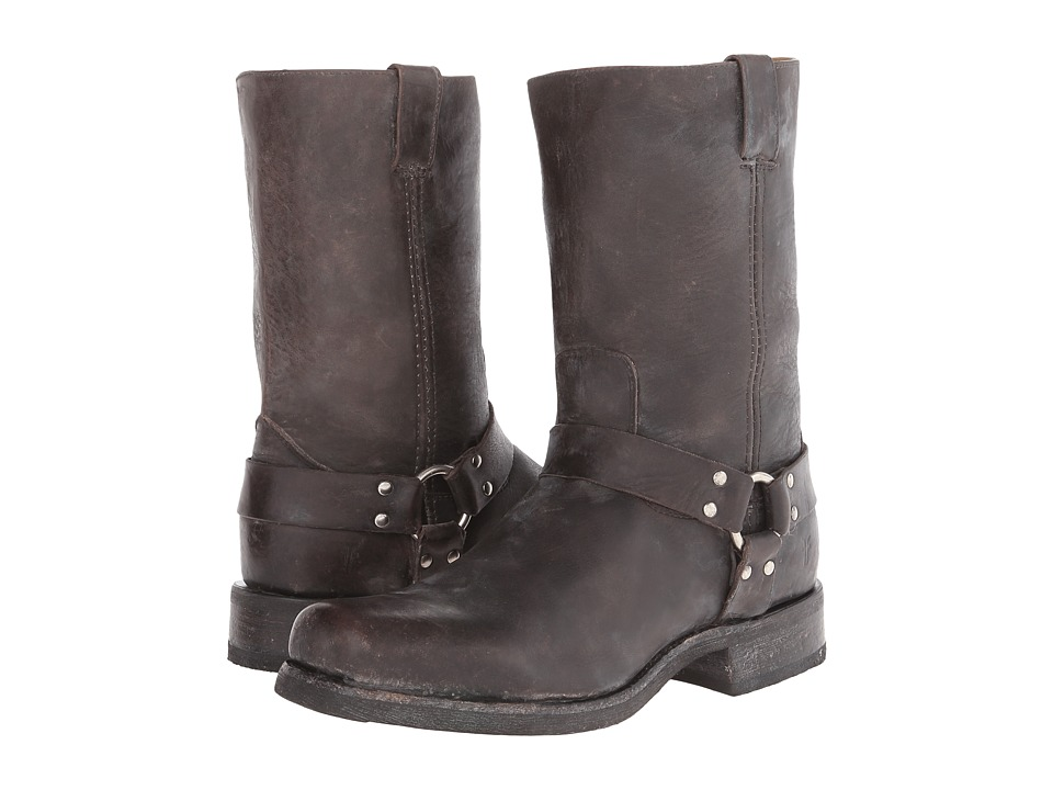 Frye Heath Harness (Black Stone Tumbled) Cowboy Boots