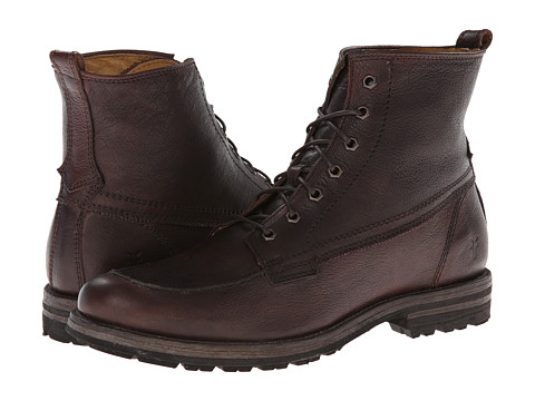 Frye - Phillip Lug Workboot (Dark Brown Hammered Full Grain) Men's Work Lace-up Boots