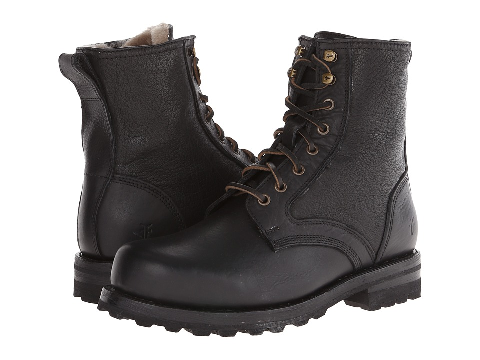 Frye - Warren Combat (Black Tumbled Leather/Shearling) Men's Work Lace-up Boots