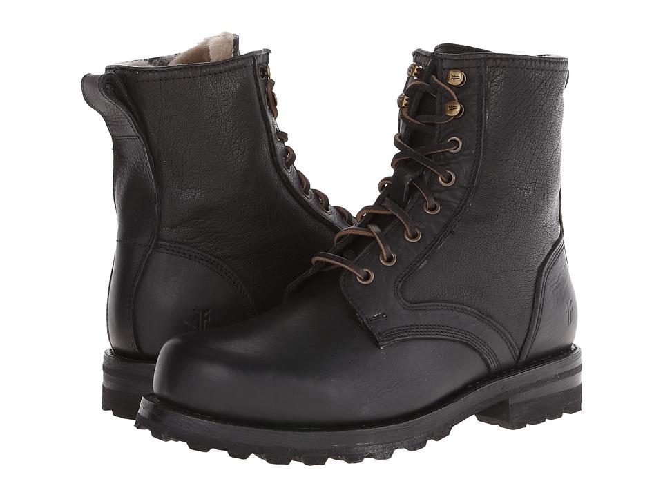 Frye Warren Combat (Black Tumbled Leather/Shearling) Men