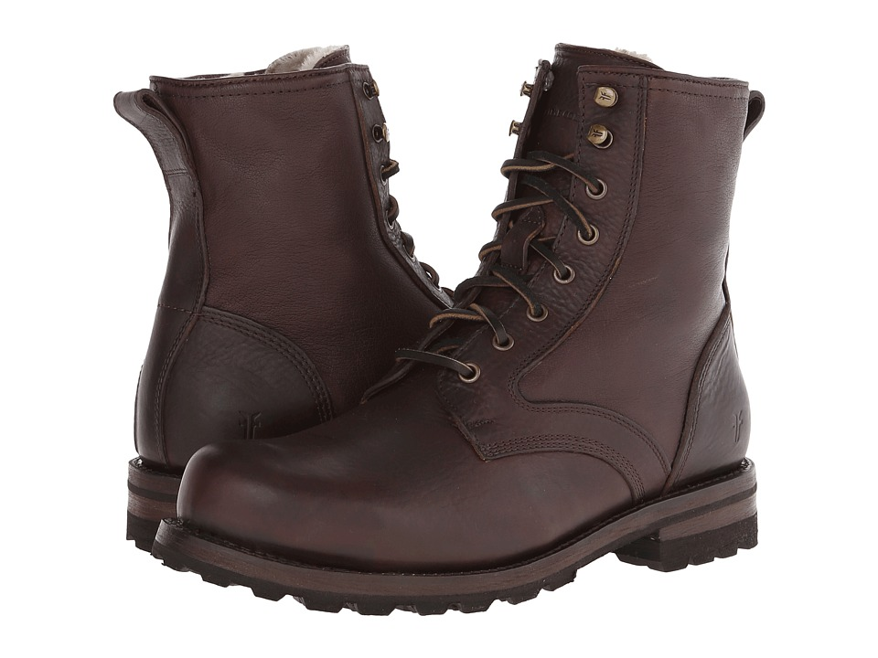 Frye - Warren Combat (Blazer Brown Tumbled Leather/Shearling) Men's Work Lace-up Boots