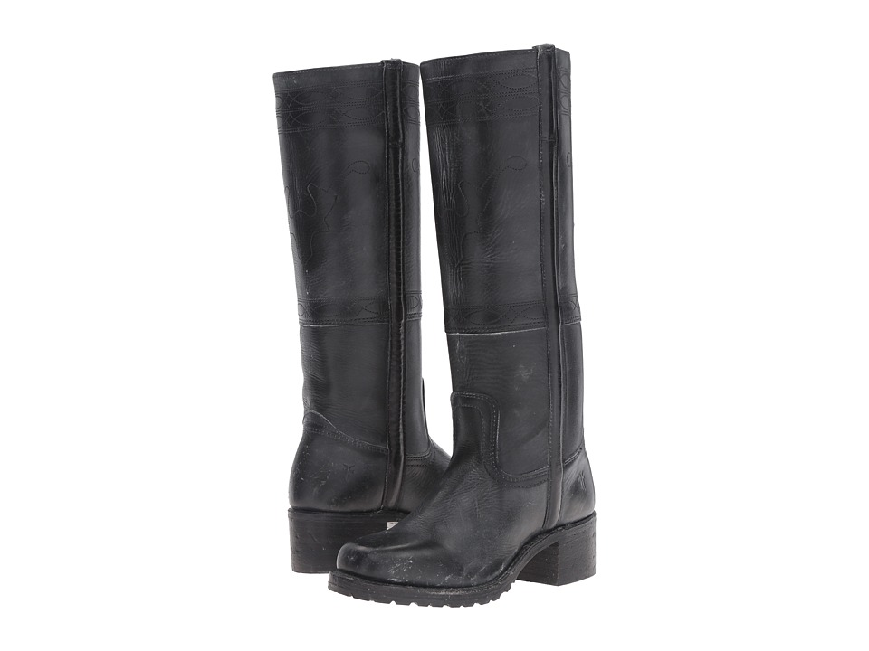 Frye Campus Stitching Horse (Black Montana Stone Wash) Cowboy Boots