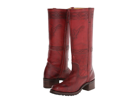 Frye - Campus Stitching Horse (Burnt Red Montana Stone Wash) Cowboy Boots