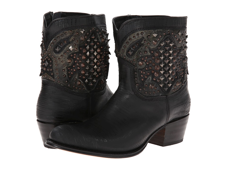 Frye - Deborah Deco Short (Black Glazed Vintage Leather) Cowboy Boots