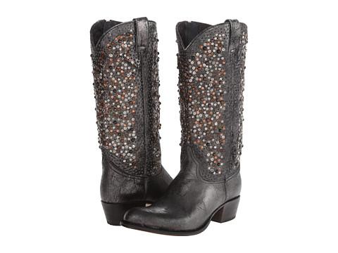 Frye - Deborah Studded Tall (Anthracite Glazed Vintage Leather) Cowboy Boots