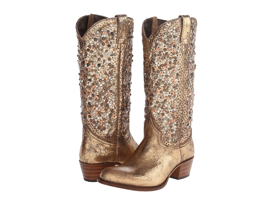 Frye Deborah Studded Tall (Gold Glazed Vintage Leather) Cowboy Boots